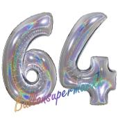 Zahl 64, holografisch, Silber, Luftballons aus Folie zum 64. Geburtstag, 100 cm, inklusive Helium