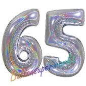 Luftballons aus Folie Zahl 65, Silber, holografisch, 100 cm mit Helium zum 65. Geburtstag