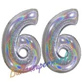 Luftballons aus Folie Zahl 66, Silber, holografisch, 100 cm mit Helium zum 66. Geburtstag