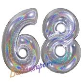 Luftballons aus Folie Zahl 68, Silber, holografisch, 100 cm mit Helium zum 68. Geburtstag