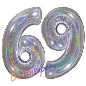Luftballons aus Folie Zahl 69, Silber, holografisch, 100 cm mit Helium zum 69. Geburtstag