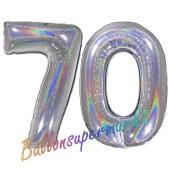 Zahl 70, holografisch, Silber, Luftballons aus Folie zum 70. Geburtstag, 100 cm, inklusive Helium