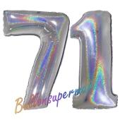 Zahl 71, Holografisch, Silber, Luftballons aus Folie zum 71. Geburtstag, 100 cm, inklusive Helium
