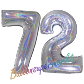 Zahl 72, Holografisch, Silber, Luftballons aus Folie zum 72. Geburtstag, 100 cm, inklusive Helium
