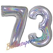 Zahl 73, Holografisch, Silber, Luftballons aus Folie zum 73. Geburtstag, 100 cm, inklusive Helium