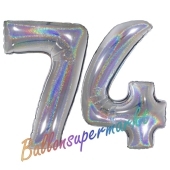 Zahl 74, Holografisch, Silber, Luftballons aus Folie zum 74. Geburtstag, 100 cm, inklusive Helium