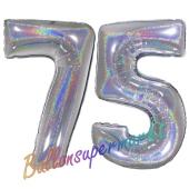 Zahl 75, Holografisch, Silber, Luftballons aus Folie zum 75. Geburtstag, 100 cm, inklusive Helium