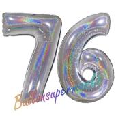 Zahl 76, Holografisch, Silber, Luftballons aus Folie zum 76. Geburtstag, 100 cm, inklusive Helium