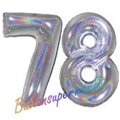 Zahl 78, Holografisch, Silber, Luftballons aus Folie zum 78. Geburtstag, 100 cm, inklusive Helium
