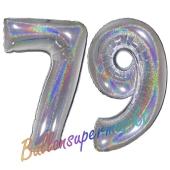 Zahl 79, Holografisch, Silber, Luftballons aus Folie zum 79. Geburtstag, 100 cm, inklusive Helium