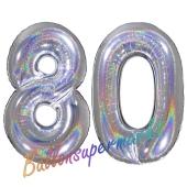 Zahl 80, holografisch, Silber, Luftballons aus Folie zum 80. Geburtstag, 100 cm, inklusive Helium