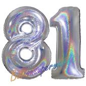 Zahl 81, holografisch, Silber, Luftballons aus Folie zum 81. Geburtstag, 100 cm, inklusive Helium