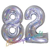 Zahl 82, holografisch, Silber, Luftballons aus Folie zum 82. Geburtstag, 100 cm, inklusive Helium