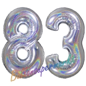 Zahl 83, holografisch, Silber, Luftballons aus Folie zum 83. Geburtstag, 100 cm, inklusive Helium