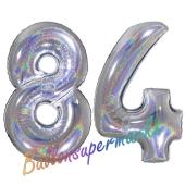 Zahl 84, holografisch, Silber, Luftballons aus Folie zum 84. Geburtstag, 100 cm, inklusive Helium