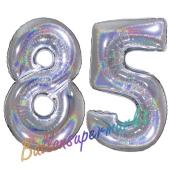 Zahl 85, holografisch, Silber, Luftballons aus Folie zum 85. Geburtstag, 100 cm, inklusive Helium