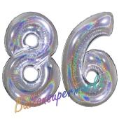 Zahl 86, holografisch, Silber, Luftballons aus Folie zum 86. Geburtstag, 100 cm, inklusive Helium