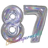 Zahl 87, holografisch, Silber, Luftballons aus Folie zum 87. Geburtstag, 100 cm, inklusive Helium