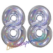 Zahl 88, holografisch, Silber, Luftballons aus Folie zum 88. Geburtstag, 100 cm, inklusive Helium