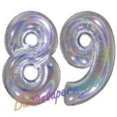 Zahl 89, holografisch, Silber, Luftballons aus Folie zum 89. Geburtstag, 100 cm, inklusive Helium