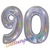 Zahl 90, holografisch, Silber, Luftballons aus Folie zum 90. Geburtstag, 100 cm, inklusive Helium