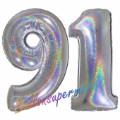 Zahl 91, holografisch, Silber, Luftballons aus Folie zum 91. Geburtstag, 100 cm, inklusive Helium