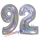 Zahl 92, holografisch, Silber, Luftballons aus Folie zum 92. Geburtstag, 100 cm, inklusive Helium