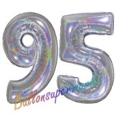 Zahl 95, holografisch, Silber, Luftballons aus Folie zum 95. Geburtstag, 100 cm, inklusive Helium