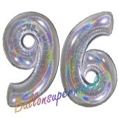 Zahl 96, holografisch, Silber, Luftballons aus Folie zum 96. Geburtstag, 100 cm, inklusive Helium