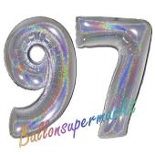 Zahl 97, holografisch, Silber, Luftballons aus Folie zum 97. Geburtstag, 100 cm, inklusive Helium