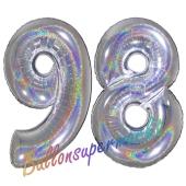 Zahl 98, holografisch, Silber, Luftballons aus Folie zum 98. Geburtstag, 100 cm, inklusive Helium