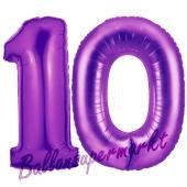 Zahl 10 Lila, Luftballons aus Folie zum 10. Geburtstag, 100 cm, inklusive Helium