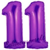 Zahl 11 Lila, Luftballons aus Folie zum 11. Geburtstag, 100 cm, inklusive Helium