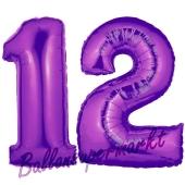 Zahl 12 Lila, Luftballons aus Folie zum 12. Geburtstag, 100 cm, inklusive Helium