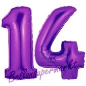 Zahl 14 Lila, Luftballons aus Folie zum 14. Geburtstag, 100 cm, inklusive Helium