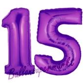 Zahl 15 Lila, Luftballons aus Folie zum 15. Geburtstag, 100 cm, inklusive Helium
