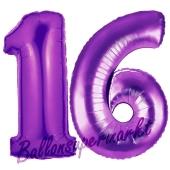 Zahl 16, Lila, Luftballons aus Folie zum 16. Geburtstag, 100 cm, inklusive Helium