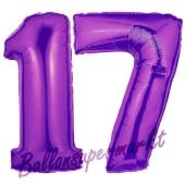 Zahl 17 Lila, Luftballons aus Folie zum 17. Geburtstag, 100 cm, inklusive Helium