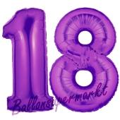 Zahl 18, Lila, Luftballons aus Folie zum 18. Geburtstag, 100 cm, inklusive Helium