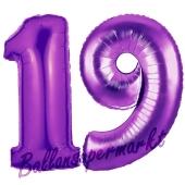 Zahl 19 Lila, Luftballons aus Folie zum 19. Geburtstag, 100 cm, inklusive Helium