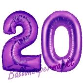 Zahl 20 Lila, Luftballons aus Folie zum 20. Geburtstag, 100 cm, inklusive Helium