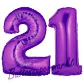 Zahl 21 Lila, Luftballons aus Folie zum 21. Geburtstag, 100 cm, inklusive Helium