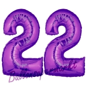 Zahl 22 Lila, Luftballons aus Folie zum 22. Geburtstag, 100 cm, inklusive Helium