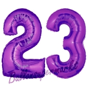 Zahl 23 Lila, Luftballons aus Folie zum 23. Geburtstag, 100 cm, inklusive Helium
