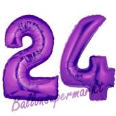 Zahl 24 Lila, Luftballons aus Folie zum 24. Geburtstag, 100 cm, inklusive Helium