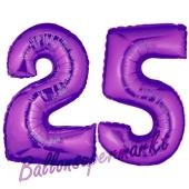 Zahl 25 Lila, Luftballons aus Folie zum 25. Geburtstag, 100 cm, inklusive Helium