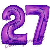 Zahl 27 Lila, Luftballons aus Folie zum 27. Geburtstag, 100 cm, inklusive Helium