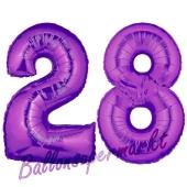 Zahl 28 Lila, Luftballons aus Folie zum 28. Geburtstag, 100 cm, inklusive Helium