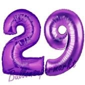 Zahl 29 Lila, Luftballons aus Folie zum 29. Geburtstag, 100 cm, inklusive Helium