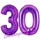 Zahl 30, Lila, Luftballons aus Folie zum 30. Geburtstag, 100 cm, inklusive Helium